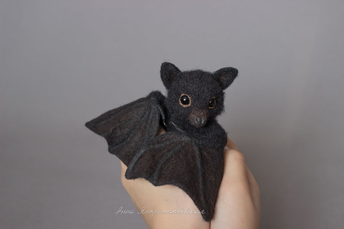 Realistic Felted Wool Bat Toy by Anna Yastrezhembovskaya