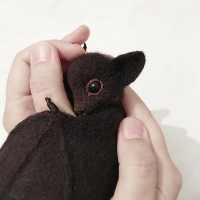 Realistic Felted Wool Bat Toy