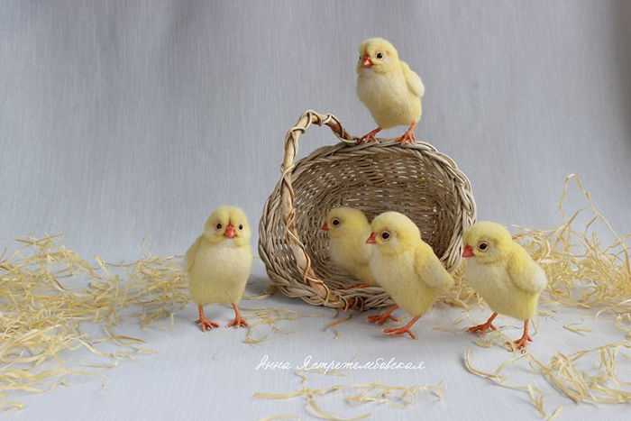 Realistic Felted Wool Chicks