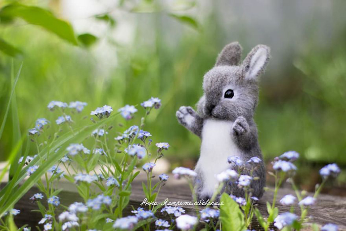 Realistic Felted Wool Rabbit Toy