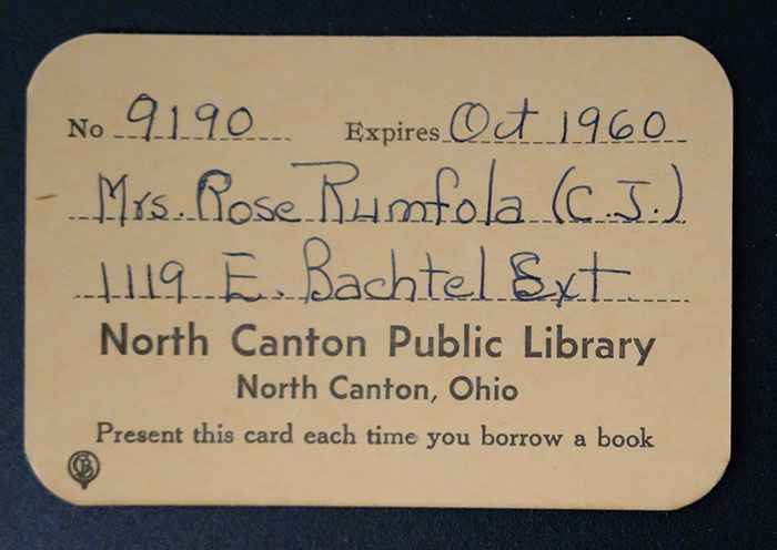 Rose Rumfola's North Canton Public Library Card