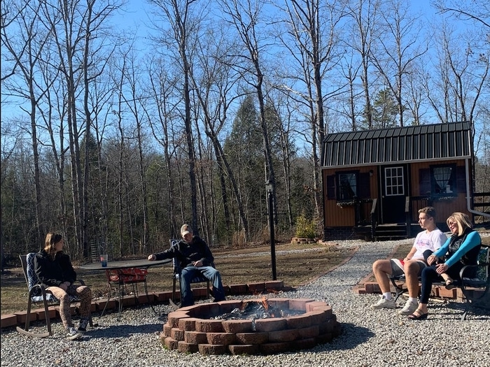 The Brinks Family Around a Firepit