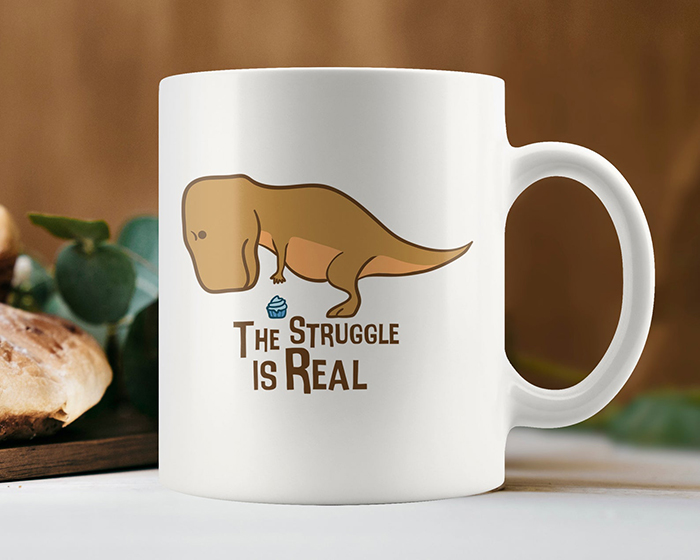 The Struggle is Real T-Rex Reaching for a Cupcake Mug