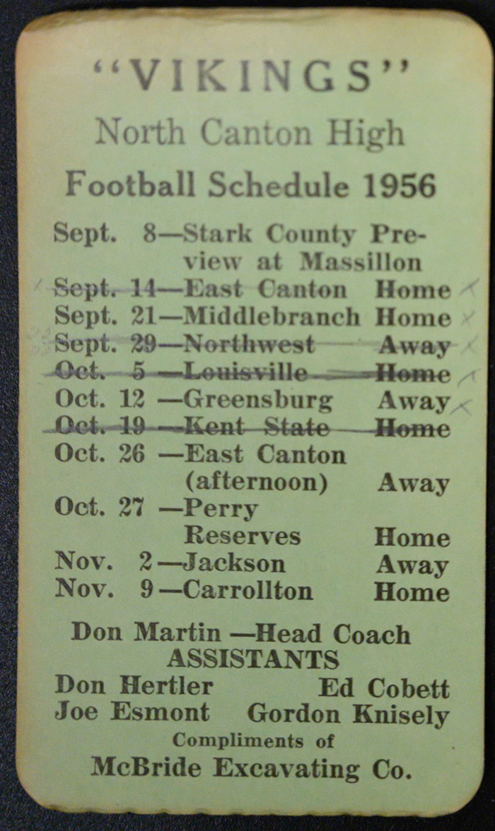 Vikings North Canton High Football Schedule 1956