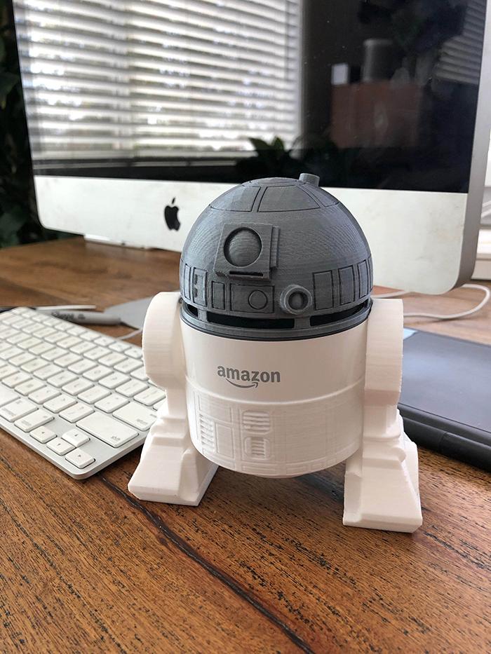 White R2-D2 Holder for Amazon Echo Dot 2nd Generation Smart Speaker