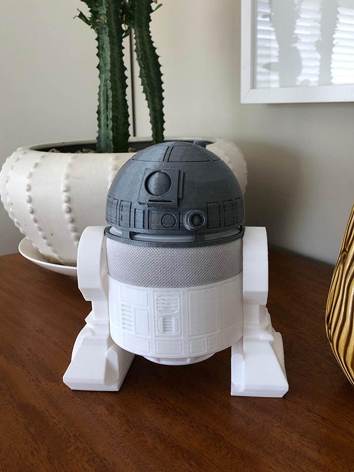 White R2-D2 Holder for Amazon Echo Dot 3rd Generation Smart Speaker
