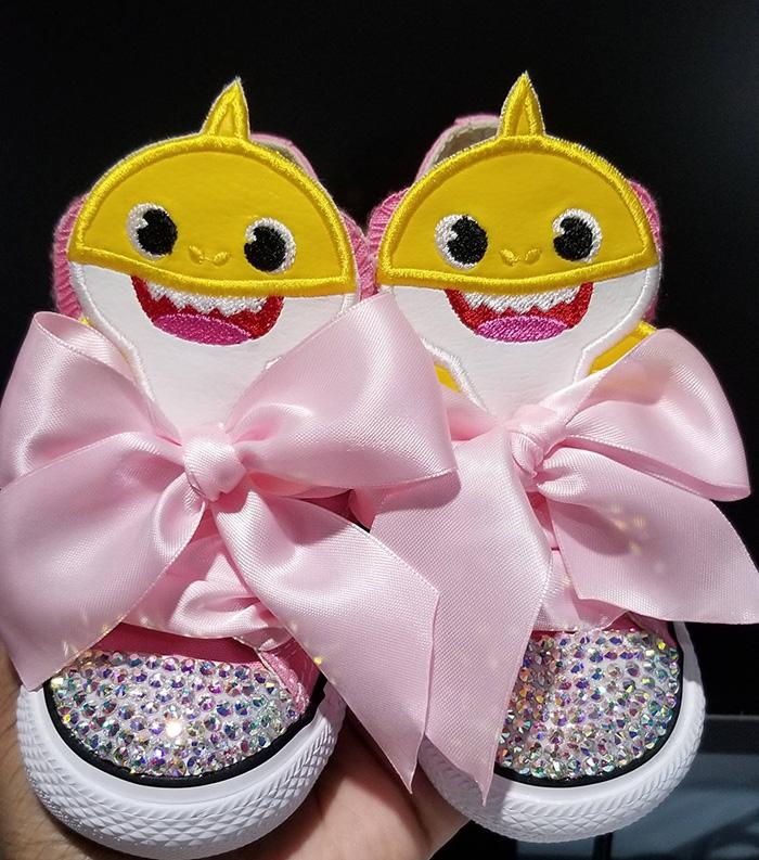 Yellow Shark Birthday Bling Shoes by TheCraftiqueByRo