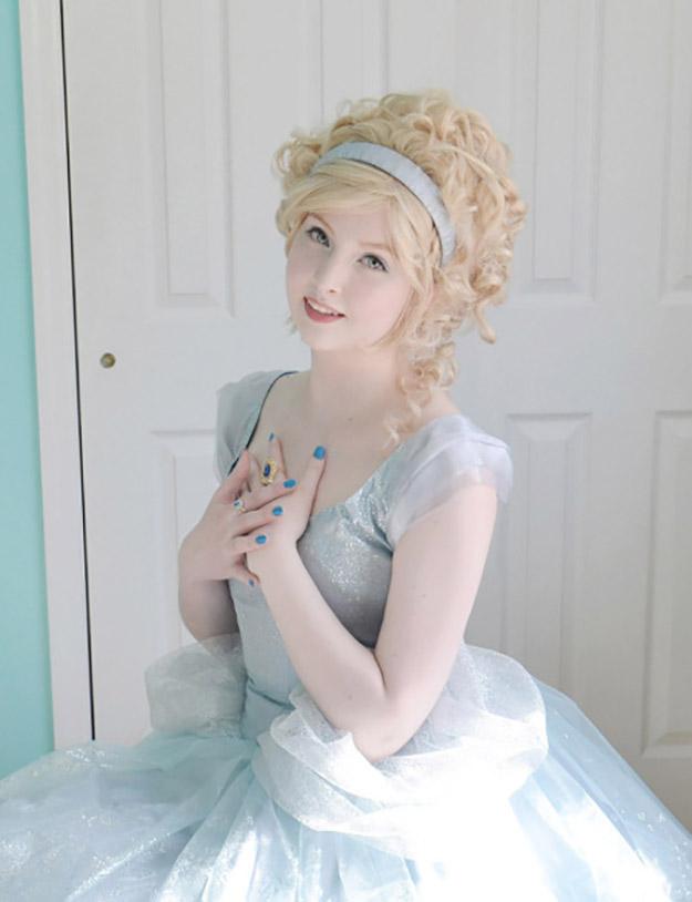 angela clayton in a cinderella-inspired dress