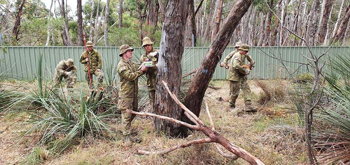 australian soldiers preparing climbing mounts