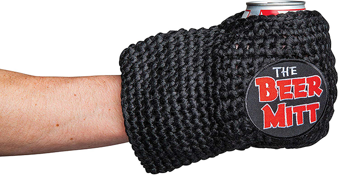 black knitted can holder glove