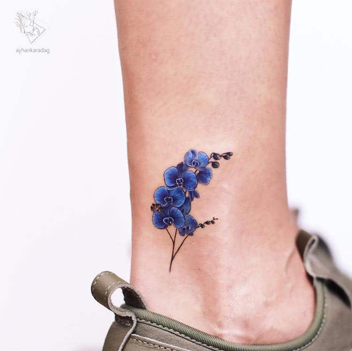 blue orchid cute tattoos