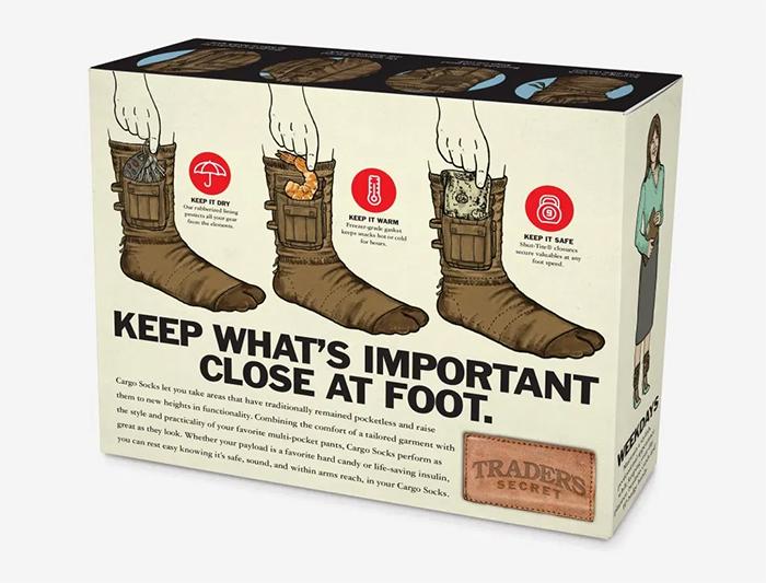 cargo socks prank gift box back