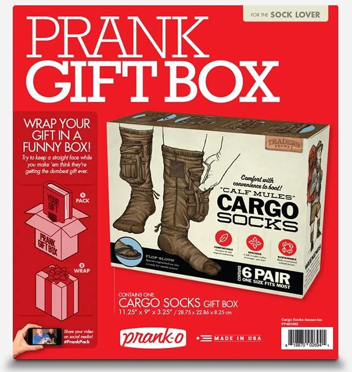 cargo socks prank gift box for sock lovers