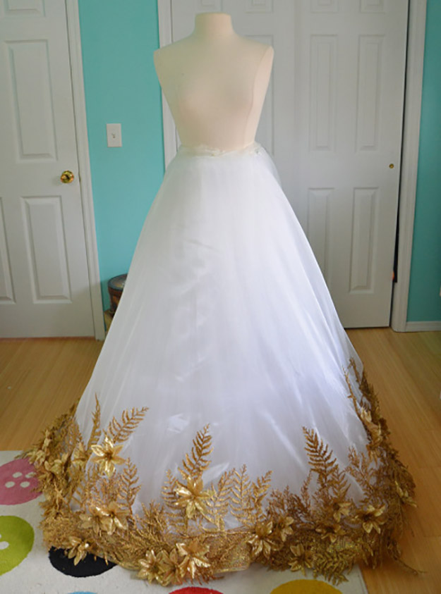 christmas angle petticoat with gold appliques