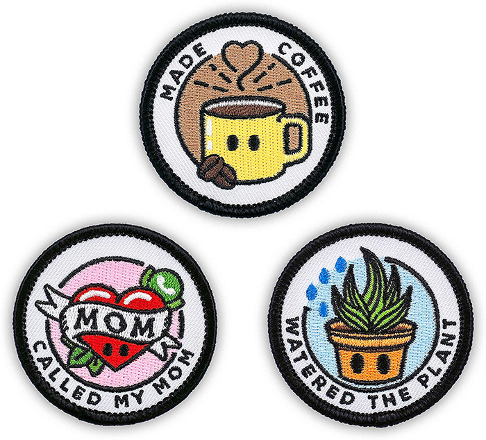colorful embroidered patches adulting topics