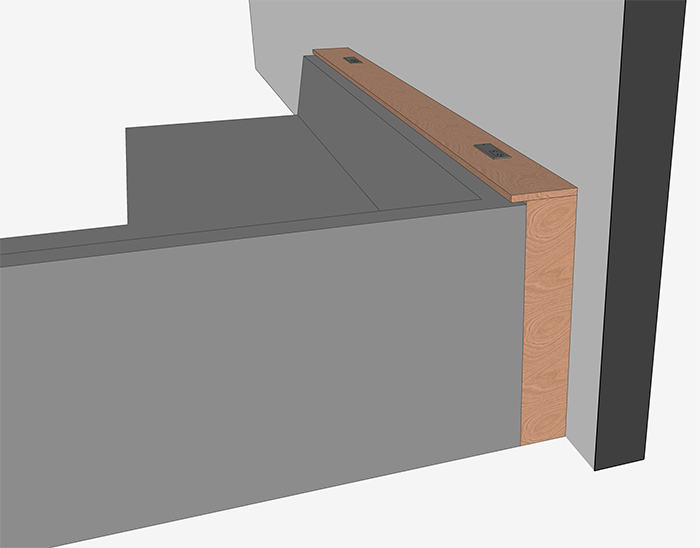 console table with integrated outlets digital plan