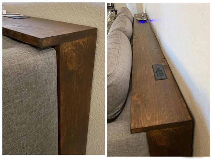 console table with integrated outlets
