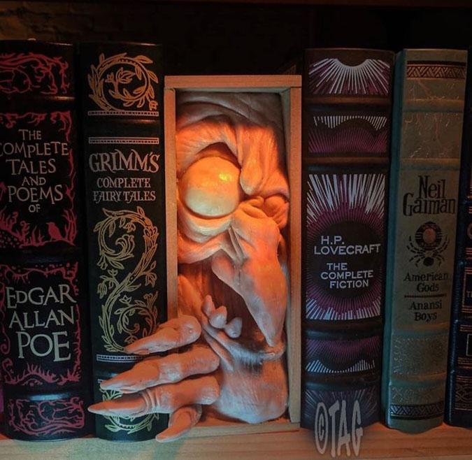 creepy bookshelf filler by tom taggart
