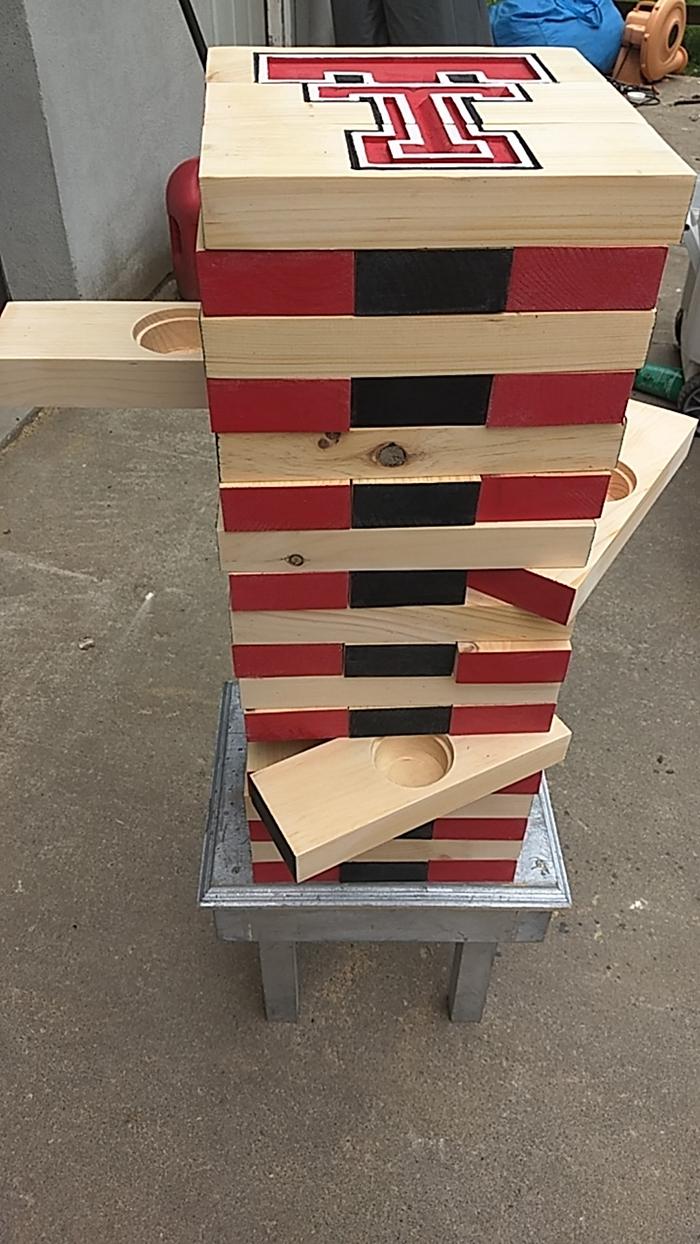 custom jenga blocks with jelly shot cup holder