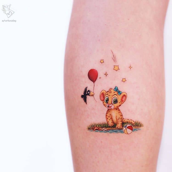 cute lion king inspired tattoo