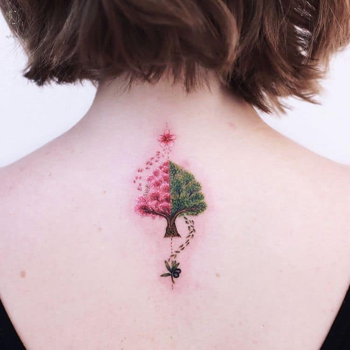 cute tattoos cheery and olive tree by ayhan karadag