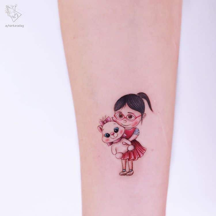 despicable me and gentlecats mashup tattoo