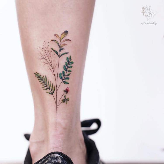 different plants in one stem cute tattoo