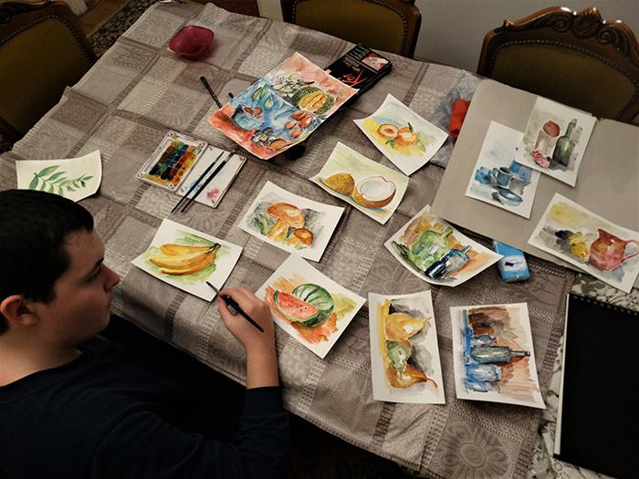 dusan doing watercolor paintings