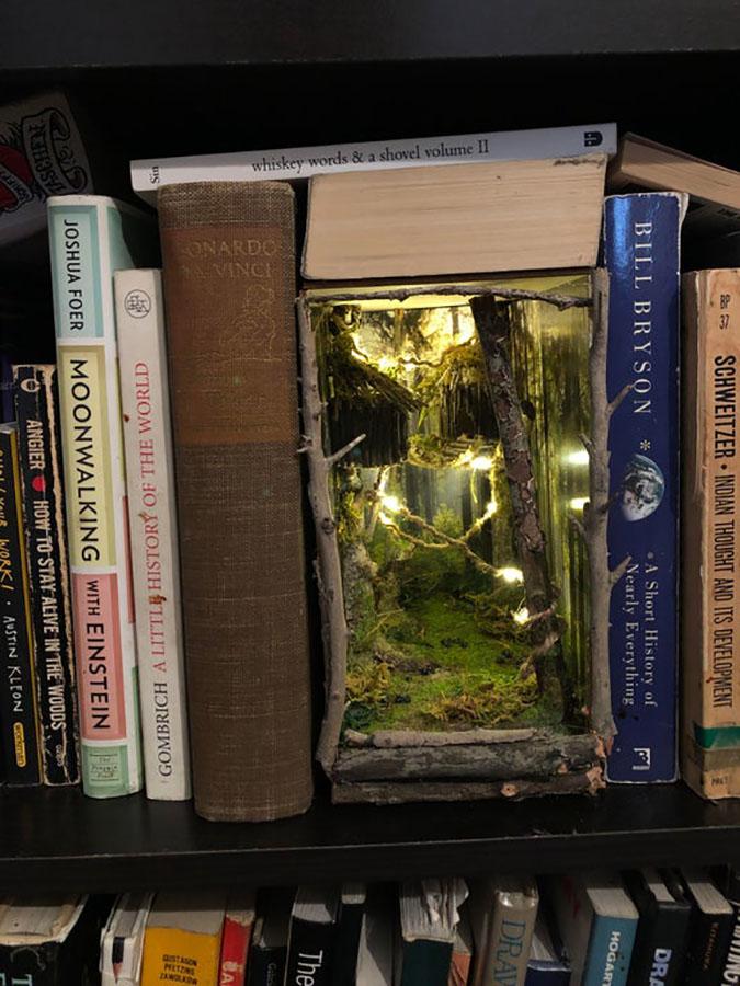 wilderness inspired bookshelf inserts