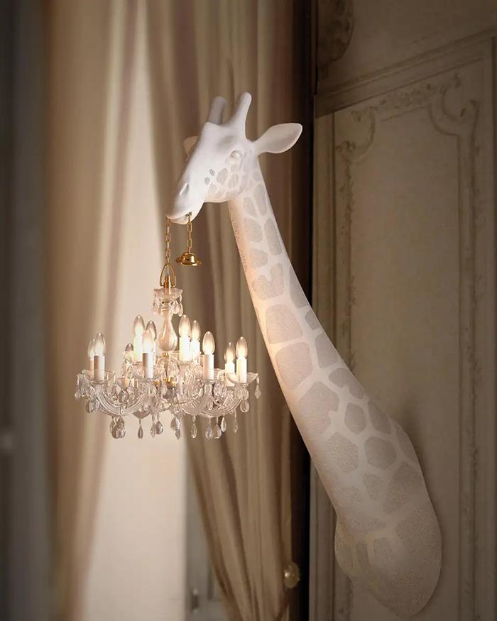 giraffe chandelier lamps white