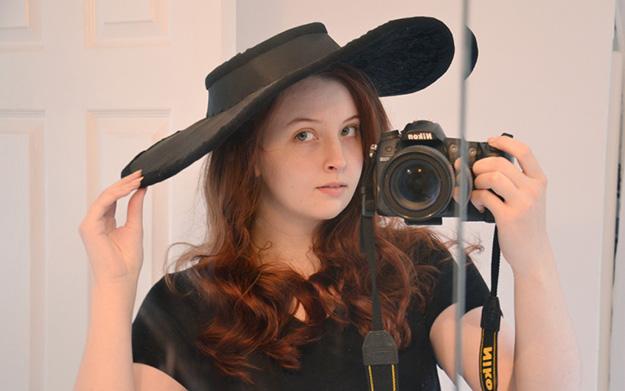 gray taffeta hat progress photo