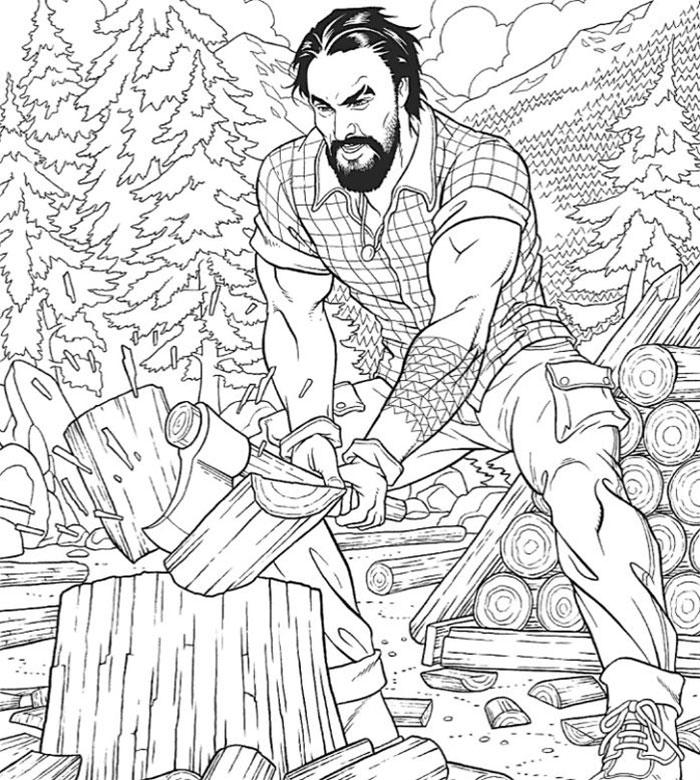 jason momoa coloring book lumberjack skill