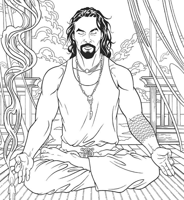 jason momoa coloring book meditating