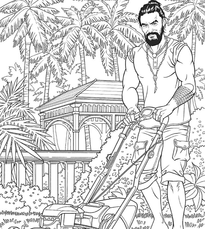 jason momoa coloring book mowing the lawn