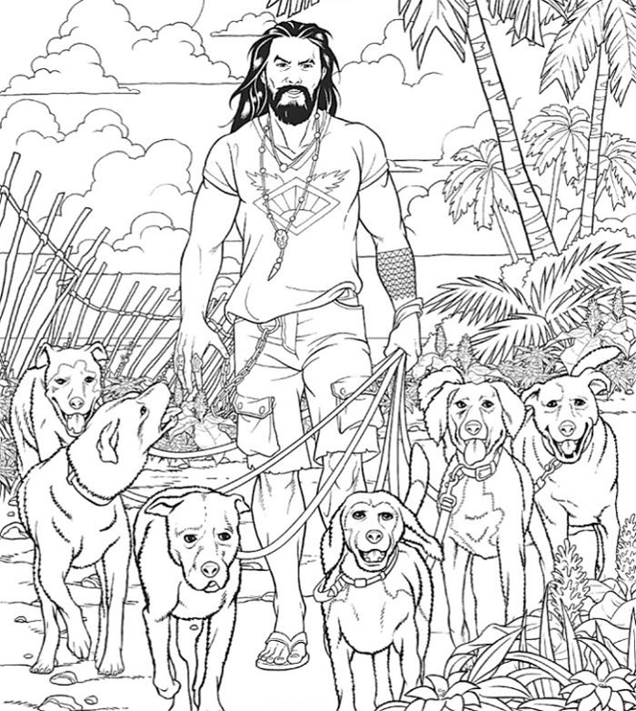 jason momoa coloring book walks the dogs