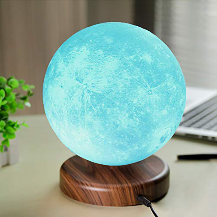 levitating moon lamp in blue