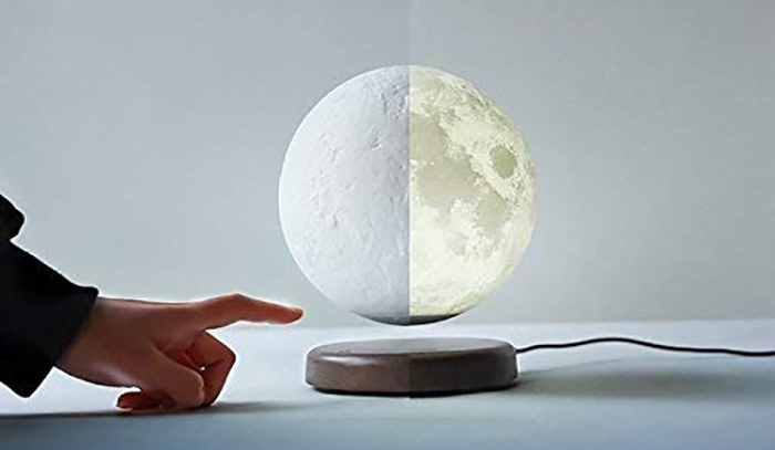 levitating moon lamp unlit and lit