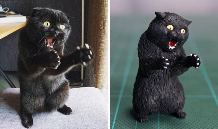 meme-inspired sculptures cat furiously explaining