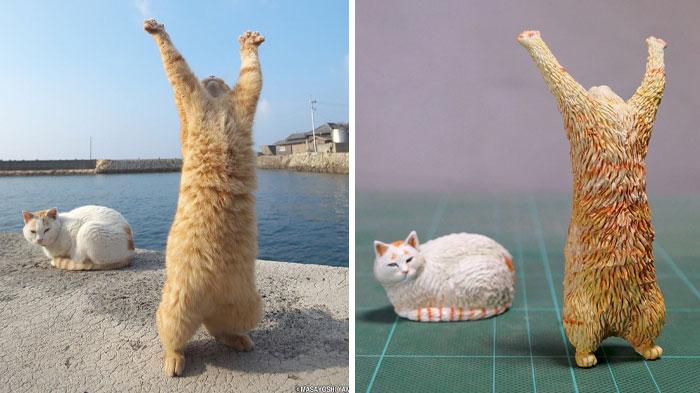 meme-inspired sculptures cat praying