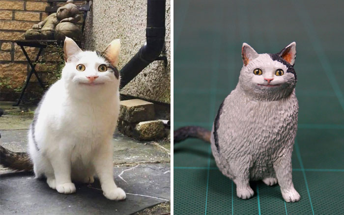 meme-inspired sculptures cat smiling