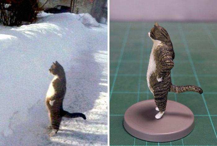 meme-inspired sculptures cat standing upright