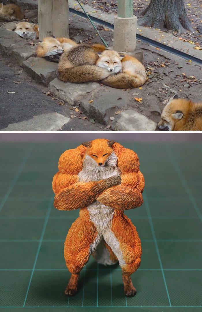 meme-inspired sculptures muscular fox