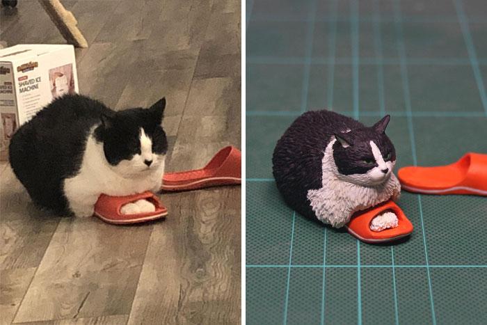 meme-inspired sculptures slipper cat