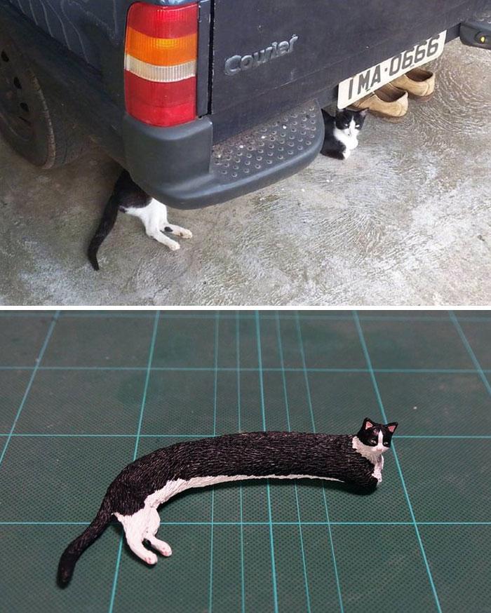 meme-inspired sculptures super long cat