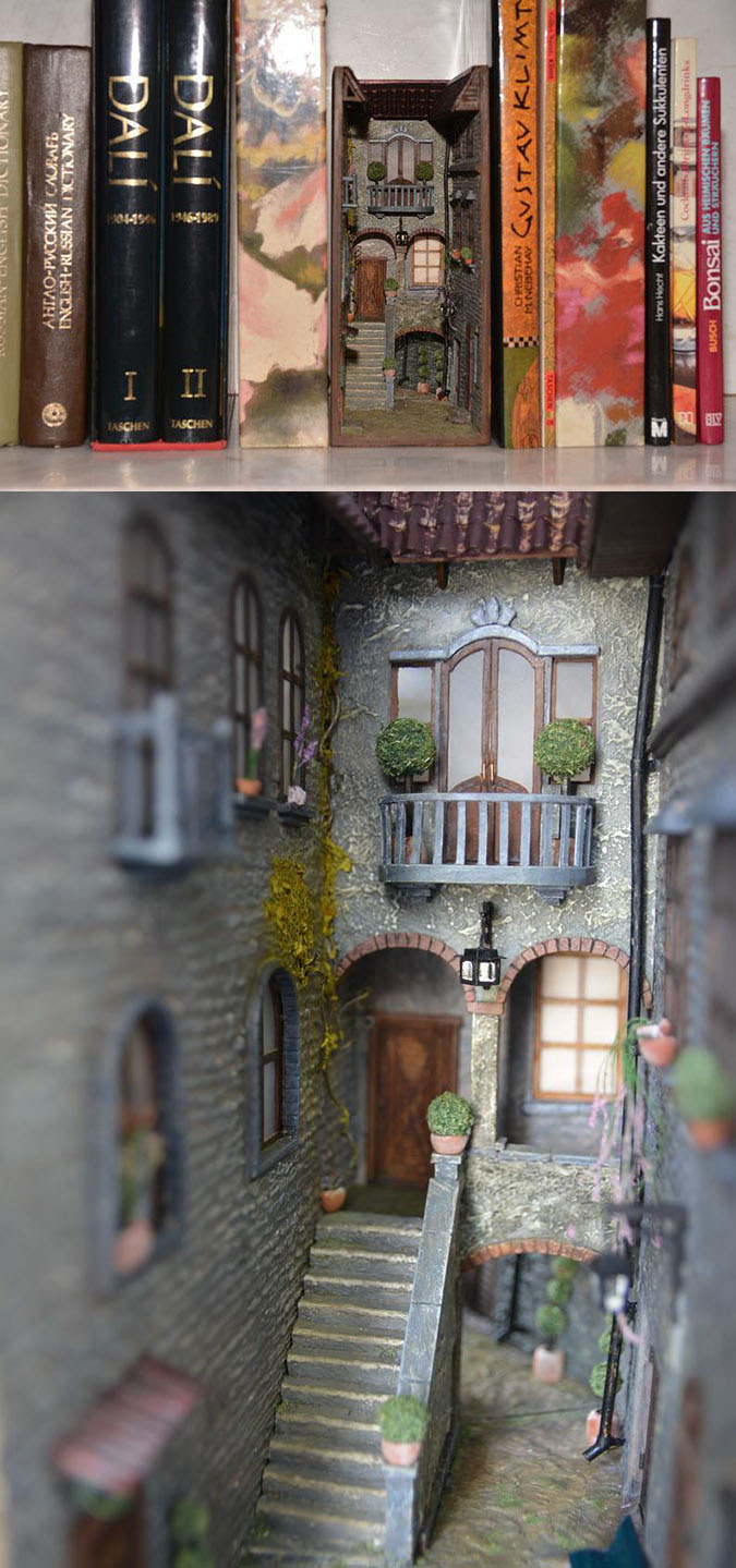 old italy inspired book nook