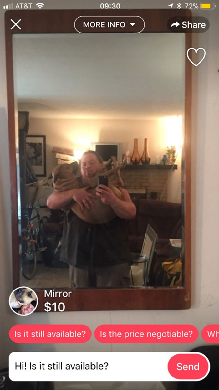 people trying to sell mirrors carry dog