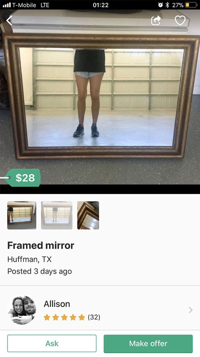 people trying to sell mirrors legs