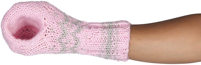 pink beer mitts with bottle holder