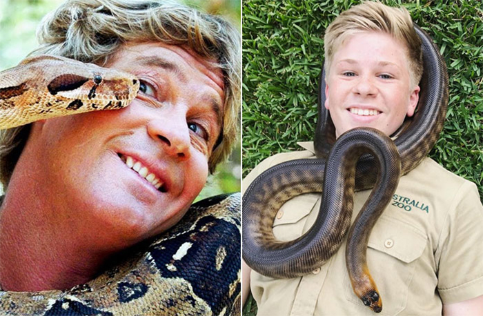 robert irwin recreates father photos snake
