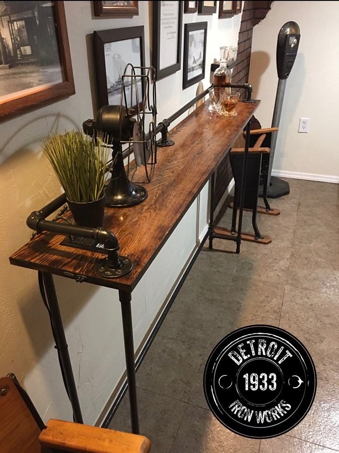 sofa table oak with power outlet